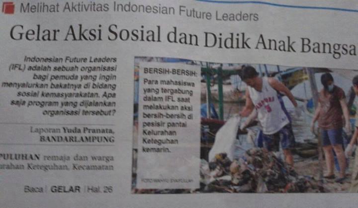 Kegiatan sosial IFL Lampung bersama mahasiswa asing masuk surat kabar nasional